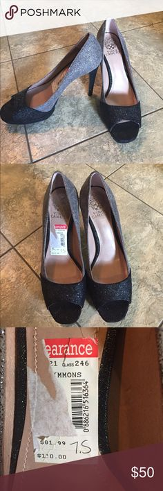 Vince Camuto heels sz 7.5 Beautiful black and grey sparkle Vince Camuto  heels.  Great condition!! sz 7.5 Vince Camuto Shoes Heels