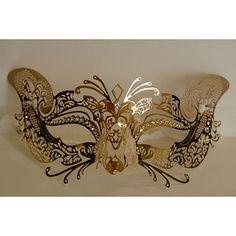 Masquerade Mask Gold Laser Cut Metal Cat Venetian Mask by Yacanna