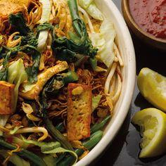 Mee goreng, green bean and tofu stir-fry; malaysian street food, ottolenghi-style