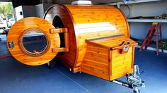 "This is the Rum Runner custom tiny teardrop trailer by The Trailer Doc. We have teamed up with an Architect and Master Woodworker to start developing custom ""tiniest homes"" and tiny hom… Vintage Trailers, Camper Trailers, Rv Campers, Vintage Campers, Vintage Rv, Vintage Airstream, Travel Trailers, Teardrop Camping, Cars"