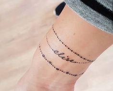 Tattoo bracelet with name In this bracelet I have the name of my . - Tattoo bracelet with name In this bracelet I have incorporated the name of my daug - Armband Tattoo Frau, Simple Armband Tattoos, Anklet Tattoos, Wrist Band Tattoo, Wrist Bracelet Tattoo, Name Bracelet, Tattoos For Women Flowers, Wrist Tattoos For Women, Baby Tattoos