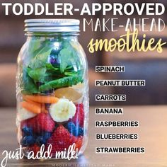 Make-Ahead Smoothies for Toddlers (Zero Waste) - Modern Homestead Mama Toddler Smoothies, Make Ahead Smoothies, Apple Smoothies, Healthy Breakfast Smoothies, Healthy Snacks, Toddler Smoothie Recipes, Green Smoothies, Healthy Smoothies For Kids, Smoothies For Babies