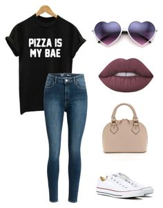Pizza is Bae by emmaszarka on Polyvore featuring polyvore, fashion, style, WithChic, Converse, Lime Crime and clothing