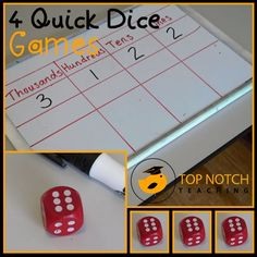 Here are 4 quick and simple dice games that you could use as a quick revision or as an introduction to a math lesson. http://topnotchteaching.com/lesson-ideas/dice-games/