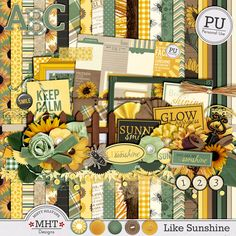 digital scrapbooking kit, Like Sunshine, http://www.mistyhilltops.com, freebie, hobby, summer, autumn, sunflower