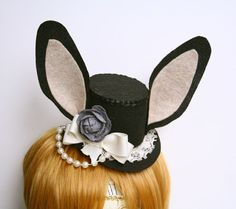 Elegant Lady Bunny Lolita Mini Top Hat by WhitefoxHats on Etsy, $30.00