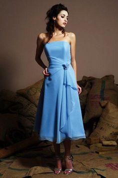 blue bridesmaid dresses   ... Sleeveless Tea length Floral Chiffon Blue Bridesmaid Dresses   PRLog