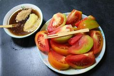 tomatoes with sweet licorice ginger soy dipping sauce | Taiwanese Dessert