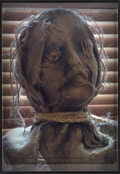 Sinister Sisters handcrafted prop mask, new for Home Haunt 2014. On Facebook as Damato Danali (Sinister Sisters). Great ideas for using antiques and handcrafted props for Halloween decorating!
