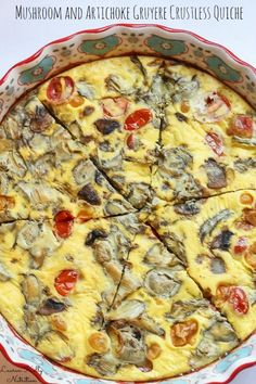 Sun Dried Tomato Artichoke Gruyere Crustless Quiche from Lauren Kelly Nutrition Quiche Recipes, Brunch Recipes, Egg Recipes, Breakfast Dishes, Breakfast Recipes, Breakfast Ideas, Free Breakfast, Low Carb Recipes, Vegetarian Recipes