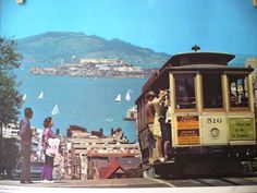 vintage 1970s San Fransisco cable car souvenir placemat with city block map on backside - vtg California