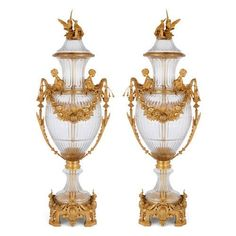 Pair of large Neoclassical style ormolu mounted glass vases | French | 20th Century. More details online at mayfairgallery.com French Rococo, Rococo Style, Large Glass Vase, Cut Glass, Purple Art, Art Deco Glass, Glass Material, Draped Fabric, Neoclassical