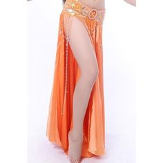 Belly Dance Skirts Women's Performance Elastic Silk-like Satin As Picture Flamenco / Belly Dance / Performance Natural #02557002