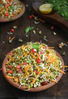Healthy and easy sprouted green gram salad with grated carrots and pomogranate . This sprouted moong salad is made in Karnataka kosamabari style .Moong kosambari is very colorful, refreshing and healthy dish. Veg Salad Recipes, Salad Recipes Healthy Vegetarian, Healthy Indian Recipes, Sprout Recipes, Healthy Dishes, Healthy Breakfast Recipes, Pasta Recipes, Healthy Rice, Protein Recipes