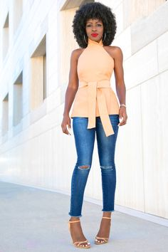 Asymmetric Wrap-Around Halter Top + Ankle Length Jeans