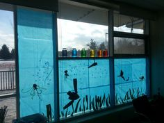 Cover Windows with tissue paper or blue cellophane to get an INSTANT feel of the sea. Have kids create their own sea creatures and hang them. Kindergarten appropriate activities.