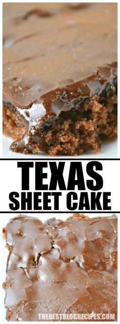 Texas Sheet Cake -- Its the perfect chocolate dessert if youre going to a family function BBQ potluck or if youre throwing a party and just want to have cake! Köstliche Desserts, Chocolate Desserts, Delicious Desserts, Dessert Recipes, Yummy Food, Chocolate Chips, Mint Chocolate, Desserts For Potluck, Food Cakes