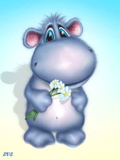 BABY BLUE HIPPO WITH FLOWER BOUQUET