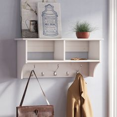 Manzanola Wood Wall Mounted Coat Rack - March 24 2019 at Country Farmhouse Decor, Farmhouse Furniture, Modern Farmhouse, Farmhouse Style, Retro Furniture, Wood Furniture, Regal Bad, Entryway Shelf, Bench With Shoe Storage