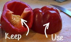 Tip: If you are only going to use half of a pepper, cut it in half and then leave the portion with the stem on top for later. The stem will keep the leftover pepper fresh 3-4x longer!  http://foodsitter.com/