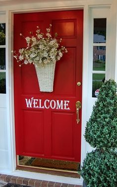 Red Door, I can't decide what color to paint our door.....black, red, yellow, or previous house I painted the door bright blue......decisions. [am I the only person on the planet that likes screen doors? jh]