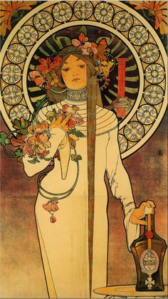 artelino - Biography of art nouveau artist Alphonse Mucha. The artist has become a kind of trademark and synonym for the Art Nouveau movement. Art Nouveau Mucha, Azulejos Art Nouveau, Alphonse Mucha Art, Art Nouveau Poster, Art Nouveau Design, Design Art, Graphic Design, Posters Vintage, Retro Poster