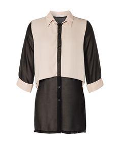 Black Sheer Two Tone Shirt