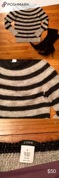 J.Crew stripped sweater Made with mohair this sweater is silky soft. Black and grey striped, off shoulder scoop neck. J. Crew Sweaters