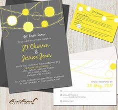 Wedding invitation, grey, teal & lime green though
