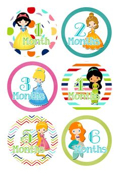 Little Disney Princesses for Girl Monthly Baby by deeneysdesigns, $9.99