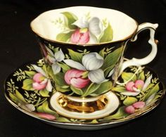 Provincial  Lady Slipper  Black tea cup and saucer