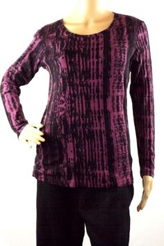 Daisy Fuentes Women's Sz L Purple Black Knit Top Cotton Scoop Neck Long Sleeve #DaisyFuentes #KnitTop #Casual