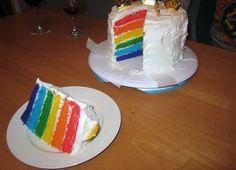 Rainbow cake.   So fun for a Birthday party!