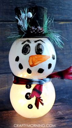 Lighted Fish Bowl Snowman- Dollar store craft to make! Christmas DIY project, craft for kids to even make. Xmas, holiday idea for home decor. Lights up! # DIY Home Decor videos Lighted Fish Bowl Snowman Christmas Crafts To Make, Dollar Tree Christmas, Dollar Tree Crafts, Holiday Crafts, Crafts For Kids, Holiday Ideas, Christmas Ideas, Kids Diy, Diy Projects For Home