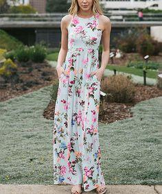 Look at this #zulilyfind! Mint & Pink Floral Pocket Sleeveless Maxi Dress #zulilyfinds