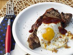Steak and eggs is a breakfast classic! Spice up the steak with a beer-infused barbecue sauce.