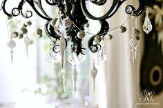christmas home tour chandelier jingle bell garland