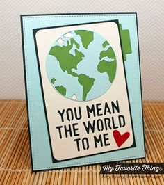Grid Background, Blueprints 15 Die-namics, Circle STAX Set 1 Die-namics, Staggered Heart Border Die-namics, You Mean the World to Me Die-namics - Amy Rysavy #mftstamps
