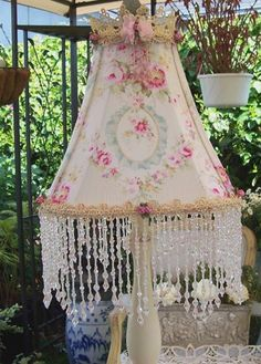 "Romantic French Inspired Cameo Ribbon Roses ""COTTAGE CHIC"" Lampshade A Timeless Treasure"
