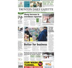 The front page of the Taunton Daily Gazette for Thursday, Feb. 6, 2014.