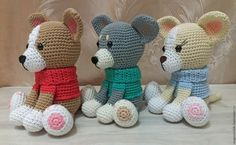 Купить Вязаные собачки чихуахуа - комбинированный, собака, собачка, собака игрушка, собачки, собачка игрушка