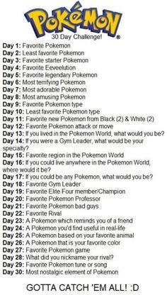 "oKé ""ON 30 Day Challenge! Day F avonte Pokemon Day Least favorite Pokemon Day F avorite starter Pokemon Day F avonte Eeveemmn Day Favorite legendary Pokemon Day Most terrifying Pokemon Day Most adorable Pokemon Day amusmg Poke"
