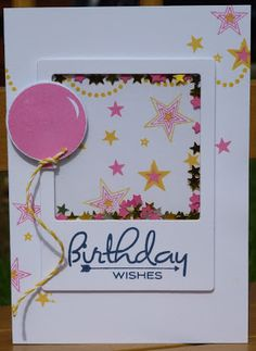 I've been liking pink and yellow on cards lately so decided to pair PTI hibiscus burst and HA butterbar inks for a shaker card in the same d. 1st Birthday Cards, Bday Cards, Handmade Birthday Cards, Birthday Ideas, Scrapbooking, Scrapbook Cards, Hand Made Greeting Cards, Interactive Cards, Shaker Cards