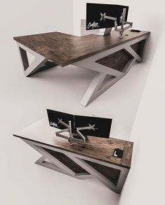 📐Form × Function 🧭 We worked with an amazing client to design this one of a kind modern L-Desk. It's next to be built & headed to… Office Table Design, Corporate Office Design, Office Furniture Design, Office Interior Design, Office Interiors, Workplace Design, Welded Furniture, Industrial Design Furniture, Steel Furniture