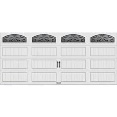 Clopay Gallery Collection 16 ft. x 7 ft. 6.5 R-Value Insulated White Garage Door with Wrought Iron Window-GR1LP_SW_WIA2 - The Home Depot