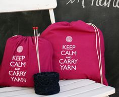 Large knitting project bag - Keep Calm and Carry Yarn - raspberry. $19.00, via Etsy.
