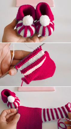 Easy To Make Baby Booties with Pom Pom - Tutorial - Free Knitting Patterns - Easy To Make Baby Booties with Pom Pom – Tutorial – Free Knitting Patterns - Crochet Baby Shoes, Crochet Baby Booties, Crochet Slippers, Easy Knitting, Knitting For Beginners, Knitting Projects, Crochet Projects, Knitting Ideas, Baby Knitting Patterns