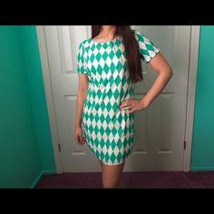 Hp Green Diamond Shift Dress S/-/L