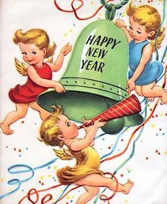 """""""Happy New Year"""" postcard Vintage Christmas Cards, Vintage Holiday, Vintage Cards, Vintage Postcards, Vintage Signs, Vintage Images, New Year Wishes, New Year Greetings, New Year Card"""