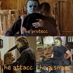 he a snacc. and a dummy thicc he a snacc. and a dummy thicc Horror Movies Funny, Scary Movies, Scary Movie Characters, Horror Villains, Funny Profile Pictures, Horror Icons, Movie Memes, Halloween Movies, Funny Relatable Memes